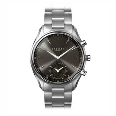 Kronaby Hybrid smartwatch from Kronaby. Silver bracelet and gunmetal dial. World time and automatic time updates. Bracelet Clasps, Metal Bracelets, Bracelet Watch, Branded Gifts, Keep An Eye On, Telling Time, Stainless Steel Bracelet, Michael Kors Watch, Rolex Watches