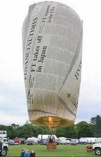 Newspaper hot air balloon.