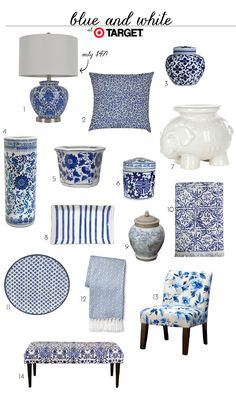 Blue and White Finds At Target (accessories, home decor, jars, bench, lamp, pillow)