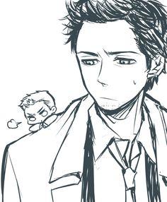 Grumpy chibi Dean and an annoyed Cas. So cute.