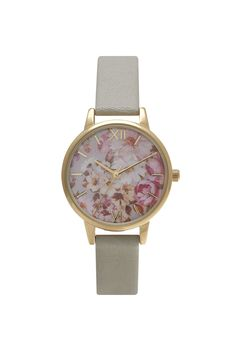 **Olivia Burton Flower Show Grey and Gold Watch - Topshop