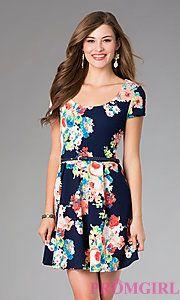 Buy Short Sleeve Floral Print Dress at PromGirl
