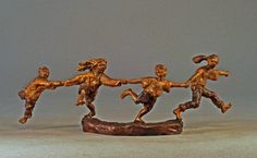 Crack the Whip (small)- A bronze sculpture by Mark Hopkins 4x12
