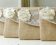 novia arpillera bolso de embrague boda rústica set 4