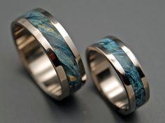 Blue Box Elder and Titanium Wedding Ring Set Minter & Richter Titanium Wedding Rings, Custom Wedding Rings, Beautiful Wedding Rings, Wedding Rings Rose Gold, Titanium Rings, Wedding Bands, Elegant Wedding, Titanium Blue, Wedding Programs