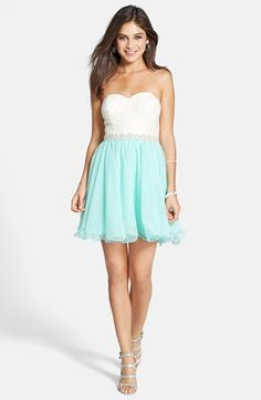 Way-In Strapless Lace Bodice Party Dress (Juniors) available at #Nordstrom