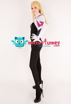 Superheroine Bodysuit Jumpsuit Cosplay Costume Zentai Inspired by Spider-Woman Gwen Stacy Female Superhero Make to Order Marvel Costumes, Cosplay Costumes, Spider Gwen Cosplay, Jumpsuits For Sale, Cosplay Events, Female Superhero, Gwen Stacy, Costumes For Sale, Marvel Comics