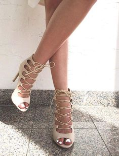 Lace up nude heels Nude Sandals, Nude Heels, Lace Up Heels, Sexy Heels, Beige High Heels, Women's Shoes, Cute Shoes, Me Too Shoes, Shoe Boots