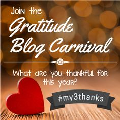 Join the Gratitude Blog Campaign 2013 #My3Thanks. Between now and December 3, share your thankfulness blog posts with us and you could be added to our Gratitude Roundup! Happy #Thanksgiving to all!