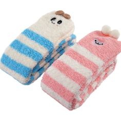 LittleForBig Cute Animal Coral Fleece Thigh High Long Striped Socks Two Pack – Sheep Pink & Panda Blue – LittleForBig ABDL Adult Baby Diaper Lover Products