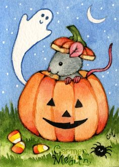 Mouse O' Lantern - cute Halloween art by Carmen Medlin
