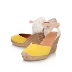 MONTY Yellow Mid Heel Wedge Shoes by KG Kurt Geiger | Kurt Geiger