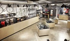 London's Tokyo Fixed Gear Store becomes Kinoko Custom Cycles Bicycle Store, Custom Cycles, Bicycle Maintenance, Cool Bike Accessories, Retail Interior, Shops, Shop Interiors, Bike Design, Retail Design