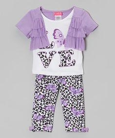 Loving this Purple 'Love' Ruffle Shrug Set - Infant & Toddler on #zulily! #zulilyfinds