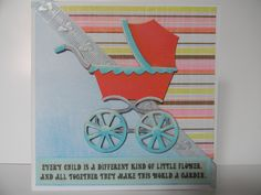 Baby shower card. Cricut cut out of pram embellished with cardstock and wording