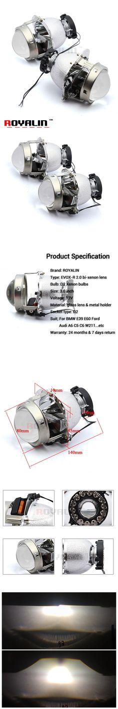 ROYALIN Car Styling 3.0 Bi Xenon Projector Lens EVOX for BMW E60 E61 E53/Ford C-Max S-Max/Audi A6 S6 A8 D3 S8 D4/Benz W211