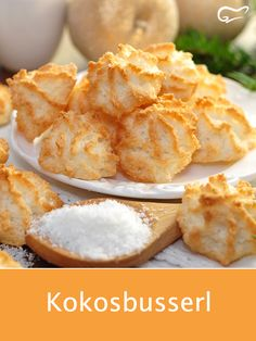 dieses einfache rezept fur kokosbusserl stammt aus omas altem kochbuch kokosb delivers online tools that help you to stay in control of your personal information and protect your online privacy. Coconut Recipes, Baking Recipes, Cookie Recipes, Snack Recipes, Snacks, Coconut Biscuits, Coconut Macaroons, Salad Ingredients, No Bake Cookies