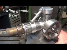 Stirling engine Gamma 16 cm3 - YouTube