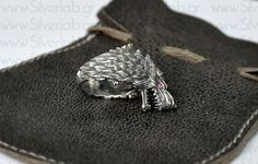 """House of Stark Ring. """"Game of Thrones """" inspired """"HOUSES OF WESTEROS"""" Collection by Silver lab,  Direwolf Animal Ring With Gemstones"""