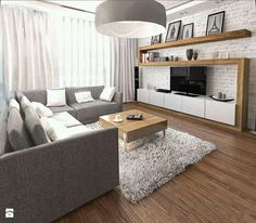 home furnishings-ideas-living-room-gray-corner sofa-wall unit-wood-white-brick . - home furnishings-ideas-living-room-gray-corner sofa-wall unit-wood-white-brick … Check mo - Brick Wall Living Room, White Brick Walls, Trendy Living Rooms, Elegant Living Room, House Interior, Apartment Decor, Living Room Grey, Home And Living, Living Room Tv