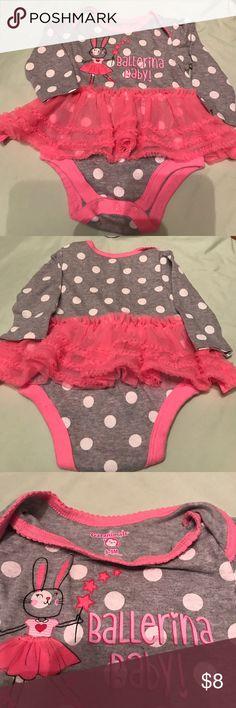 "Cute Onesie with Pink ruffle Onesie long sleeve with ruffle ""Ballerina Baby"" Garanimals One Pieces"