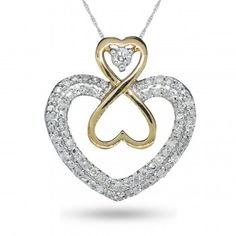 Forever Heart, 10K Yellow Gold, Sterling Silver Diamond Fashion Heart Pendant, 1/3T ctw. - Online Specials - Jewelry - by Samuels Jewelers