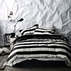 AURA Home, Winter 2014, Wide Strip quilt cover in creme and black.