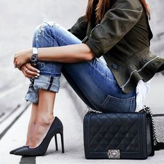 #streetstyle #spring2016 #inspiration | Army Green Peplum Jacket + Denim | Fashioned Chic