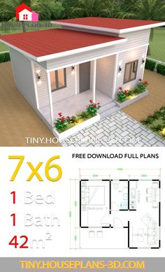 House Plans with One Bedroom Shed Roof - Tiny House Design Tiny House Plans Free, Small House Floor Plans, Simple House Plans, My House Plans, House Design 3d, Simple House Design, Building A Tiny House, Tiny House Cabin, One Bedroom House Plans