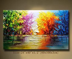 contemporary wall art,Palette Knife Painting, Colourful tree Painting,wall decor Home Decor,Acrylic Textured Painting ON Canvas by Chen Beautiful Paintings, Your Paintings, Landscape Paintings, Original Paintings, Texture Painting On Canvas, Palette Knife Painting, Textured Painting, Abstract Canvas, Colorful Trees
