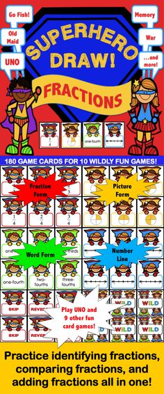 Fraction Game Cards set of 180 fraction cards brings you 10 wildly fun fraction games in one! Students will have a blast playing these popular card games while practicing recognizing fractions in fraction form, picture form, word form, and on a number line, and even practicing comparing fractions and adding fractions! Each card game has been specifically adapted for using this fraction cards deck. These games work great as a pair/group activity, or for use in math centers.
