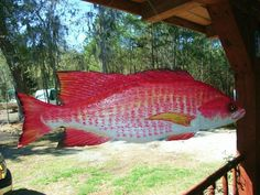 """Two Sided Red Snapper Mobile 36""""  chainsaw wood carving sculpture fish MOBILE stainless steel hanger saltwater fish art"""