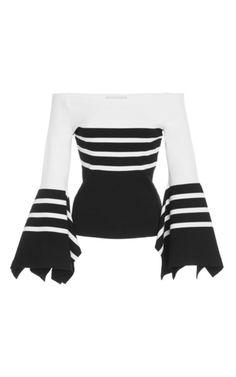 Stripe Off the Shoulder Knit Scarf Hem Top by Rosetta Getty | Moda Operandi