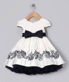 Take a look at this Ivory & Navy Bow Embroidered Dress - Infant, Toddler & Girls on zulily today! Cute can they make it adult size Toddler Dress, Toddler Outfits, Kids Outfits, Infant Toddler, Toddler Girls, Little Girl Fashion, Toddler Fashion, Kids Fashion, Little Dresses