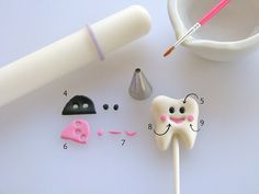 A Tooth Fairy Cupcake Topper Tutorial to Satisfy Your Sweet Tooth! fondant tooth tutorial (actually for a tooth fairy, but I like the regular tooth best) CUPCAKE TOPPER Fondant Cupcakes, Fairy Cupcakes, Fondant Toppers, Themed Cupcakes, Cupcake Toppers, Cupcake Cakes, Rose Cupcake, Pink Cupcakes, Cake Topper Tutorial