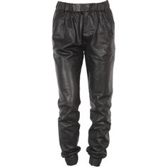 J Brand Ready-To-Wear Blair Leather Pant in Black ($338) ❤ liked on Polyvore featuring pants, bottoms, jeans, calças, j brand, black pants, black leather trousers, black leather pants and black trousers