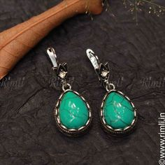 A western style turquoise earrings in bluish green. . Shop this online at www.rimli.in Drop in by our store at T.Nagar, Chennai for more designs. Whatsapp your queries to +91 9841640771. . #rimli #chennai #jewels #rimlichennai #Jewellery #JewelleryLove #FashionJewellery #TraditionalJewellery #LimitedEdition #ReelItFeelIt#JewelryDesigner #JewelleryDesigner #JeweleryAddict #InstaJewelry #HandcraftedJewellery #jewelsofinstagram #accessories Oxidised Jewellery, Turquoise Earrings, Indian Jewelry, Handcrafted Jewelry, Jewelery, Women Accessories, Fashion Jewelry, Jewelry Design, Drop Earrings