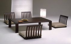 Japanese style Zaisu Chairs and Table Set