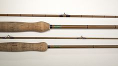 Apollo rods.  Accession Nos. 1981.008.001 and 1981.008.002. These Apollo steel rods made in England are two fine examples of steel rods approaching the beauty of a bamboo rod. With its uniform tubular steel blanks made to resemble cane, and fitted with agate guides attached with tasteful silk wraps, they would have been a proud possession for anyone who owned one.