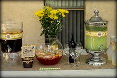 Rustic bridal shower beverage table