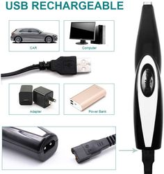 AngFan Pet Clippers Cat Shaver, Professional Hair Grooming Clippers Detachable Blades Cordless Rechargeable with Scissor, Guards for Small Medium Large Dogs Cats and Other Pets