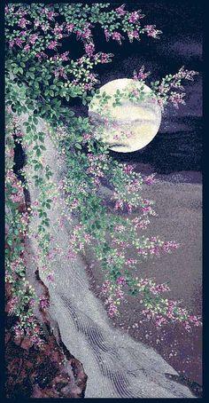 Moon Over Waterfall Asian Japanese Fabric Panel Premium Cotton  #RedRoosterFabrics