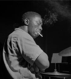"Art Blakey, August 7, 1960, ""A Night In Tunisia"" session, Englewood Cliffs, NJ. Photo by Francis Wolff."