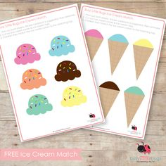 "Ice cream matching game. Can turn into, ""Who has/I have game"" if you print multiple ""toppings"". Whoever gets the most ice creams at the end wins."