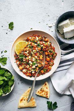 Mediterranean Chickpea Casserole with Spinach and Feta — Evergreen Kitchen #Chickpea #garbanzobeans #garbanzos #chickpeas #cook #dinner #vegan #veganrecipes #veganfood #healthylifestyle #healthy #healthyfood #nutrition