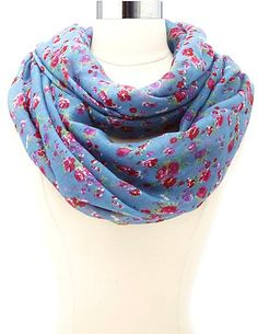 Mini Rose Floral Print Infinity Scarf: Charlotte Russe