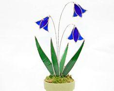 "Stained Glass Wild Blue Bells,Suncatcher,Cobalt Blue Stained Glass,Glass Flowers, Made in USA,OOAK,Garden Decor,Mother's Day Gift, 10"" x 6""."