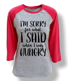 Sharp Wit Athletic Heather & Hot Pink When I Was Hungry Raglan Tee   zulily