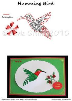 Humming Bird on Craftsuprint designed by Silvia Griffin - This bird is a favorite to many. Love to bring it to you. Can be done in many color schemes and for many many occasions. Happy folding - Now available for download!
