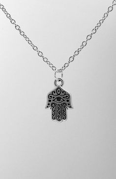 Hamsa Necklace  Silver Plated Charm on a 17 by treasuredcharms, $10.00